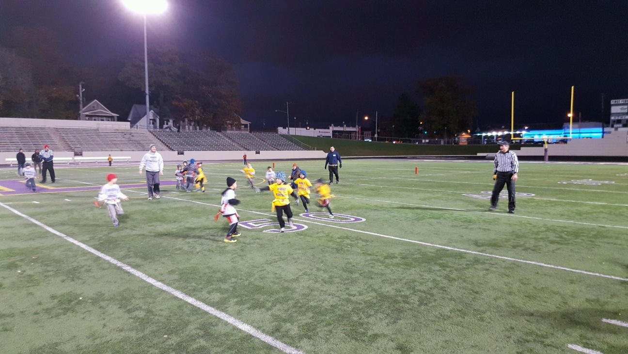 Youth flag football under the lights